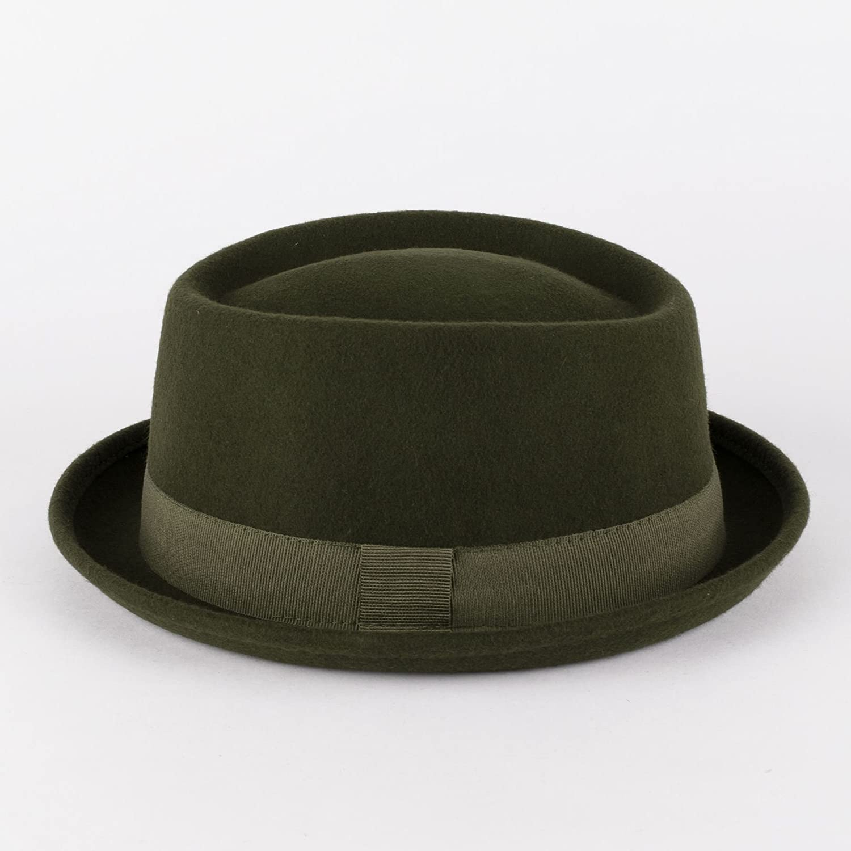Black Hand Made 100/% Wool Felt Porkpie Trilby Hat With Black Band