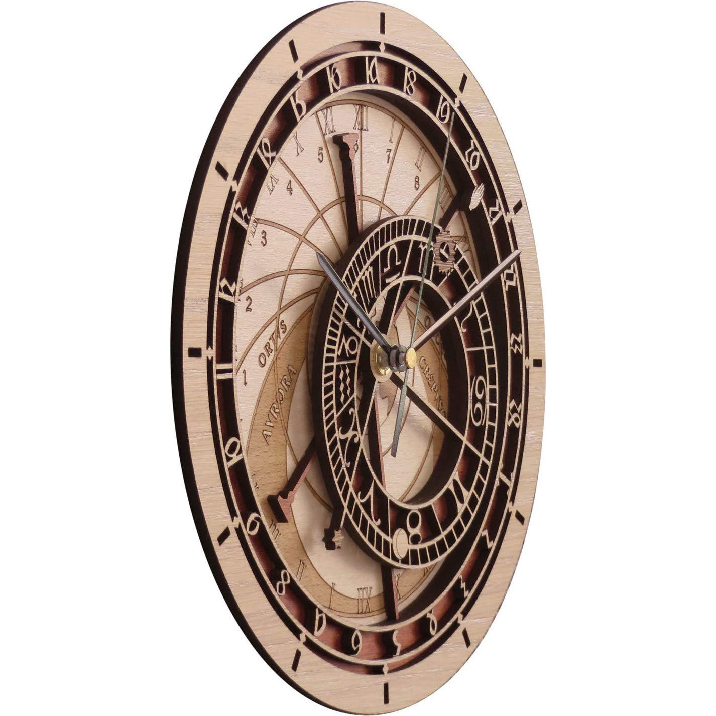 RENYAYA Reloj De Pared, Praga Astronómico Reloj De Madera, Antiguo Vintage Retro Estilo Casa Hotel Oficina Decoración Regalo Reloj De Cuarzo Mudo, ...