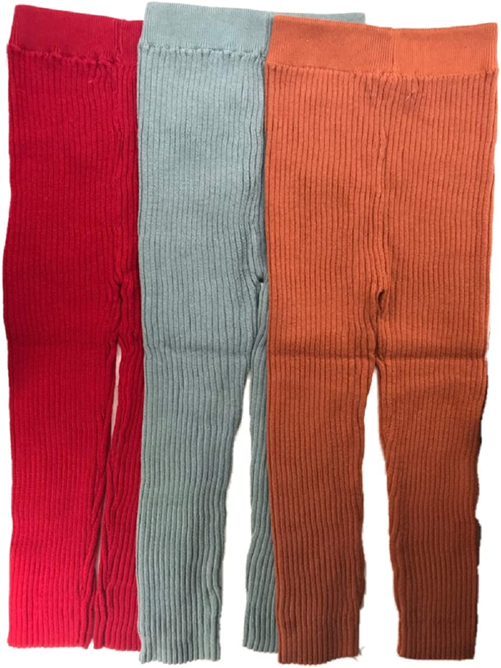Elise Home 3 Pack Baby Girls Leggings Footless Tights Knit Panty Cue Candy Color V