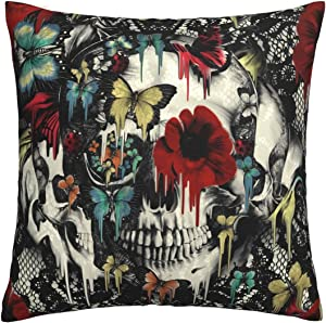 Antvinoler Decorative Square Throw Pillow Cover Cushion Covers Pillowcase,Vintage Victorian Gothic Lace Black Skull Colorful Home Decor Decorations for Sofa Couch Bed Chair 18x18 Inch/45x45 cm