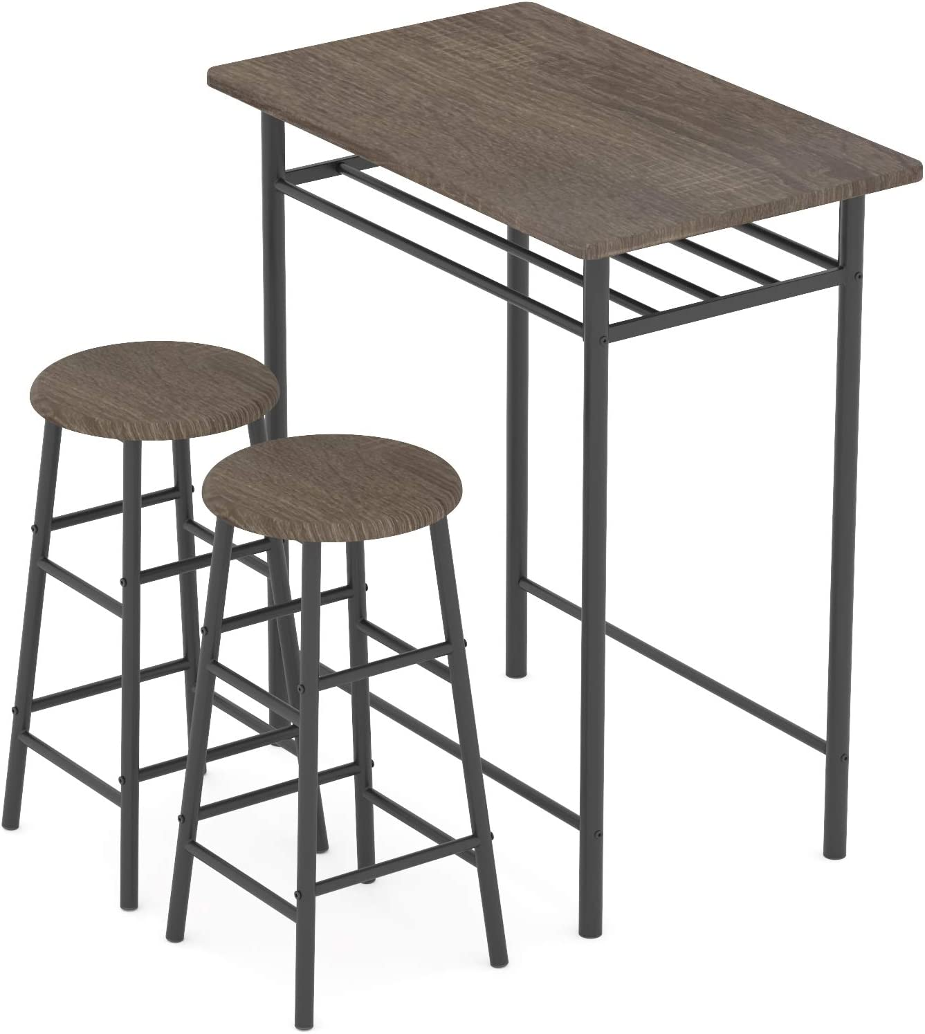 WeeHom 3 Pieces Bar Table Set, Modern Pub Table and Chairs Dining Set, Kitchen Counter Height Dining Table Set with 2 Bar Stools, Built in Storage Layer, Easy Assemble