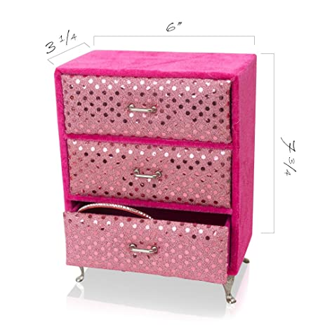 Amazoncom Kidsthrill Girls Jewelry Drawer Organizer Box 3