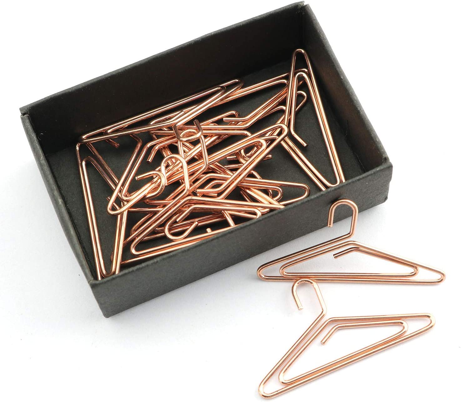 NX Garden Paper Clips 12PCS Hanger Shape Rose Gold Note Clips Photo Sign Clips Metal WireBookmark Clips for Home and Office