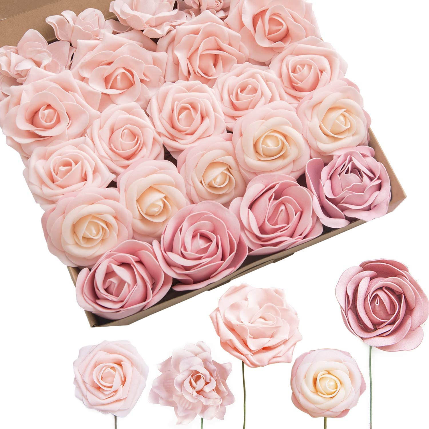 Ling's moment Artificial Flowers Cozy Blush Combo Box Set for DIY Wedding Bouquet Centerpieces Flower Garlands Arrangements Home Decorations