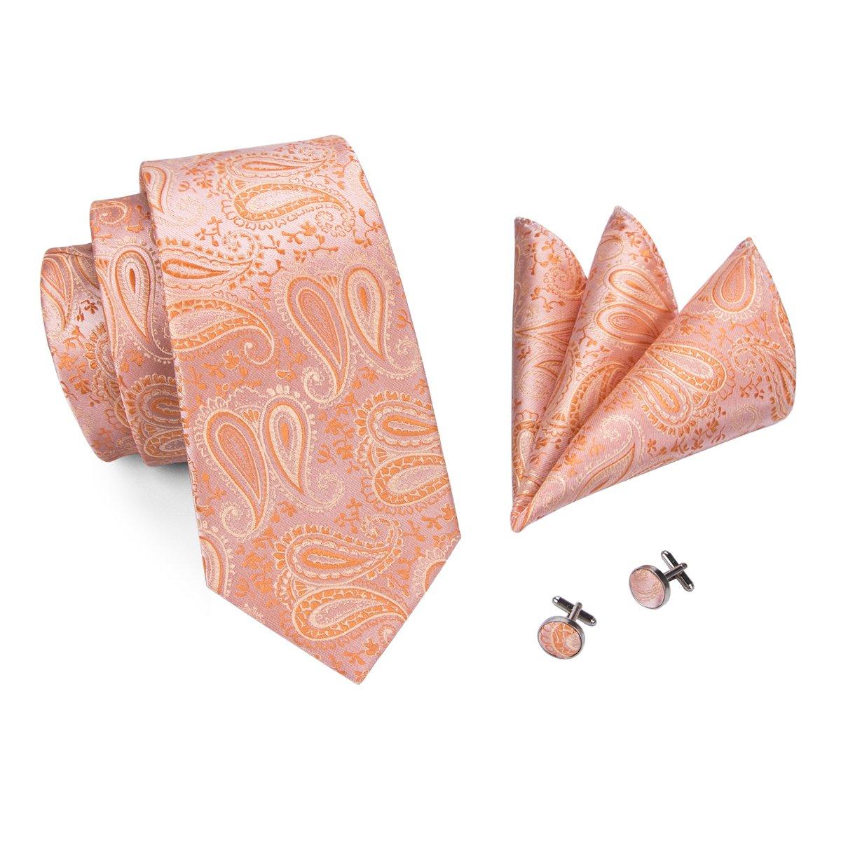 CAOFENVOO Hombres de Paisley de seda tejida corbata Tie Hankerchief Gemelos
