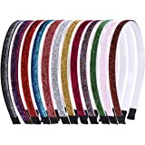 12 Pcs Glitter Headbands 1 CM DIY Kids Headband for little Girls Sparkle Children Plastic Hairbands with Teeth Rainbow…