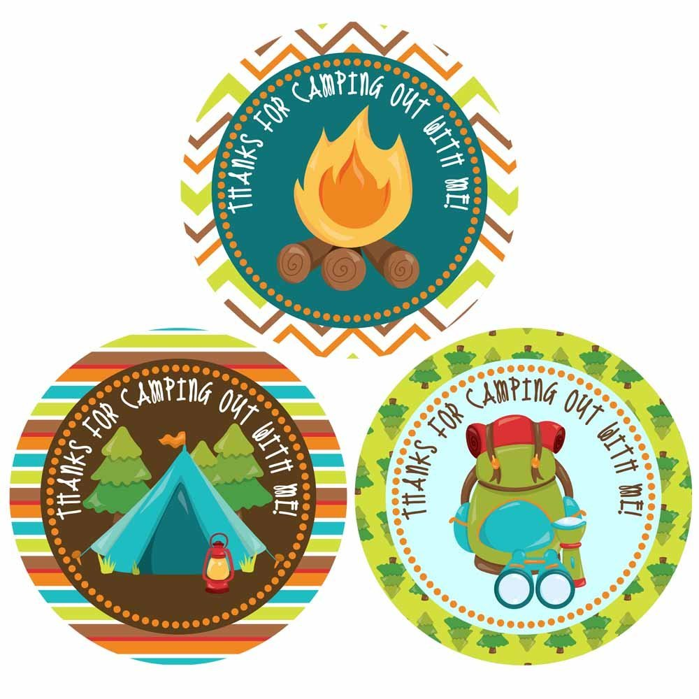 Thank You For Camping out With Me Sticker Labels - Camping Theme Birthday Party Supplies - Set of 30
