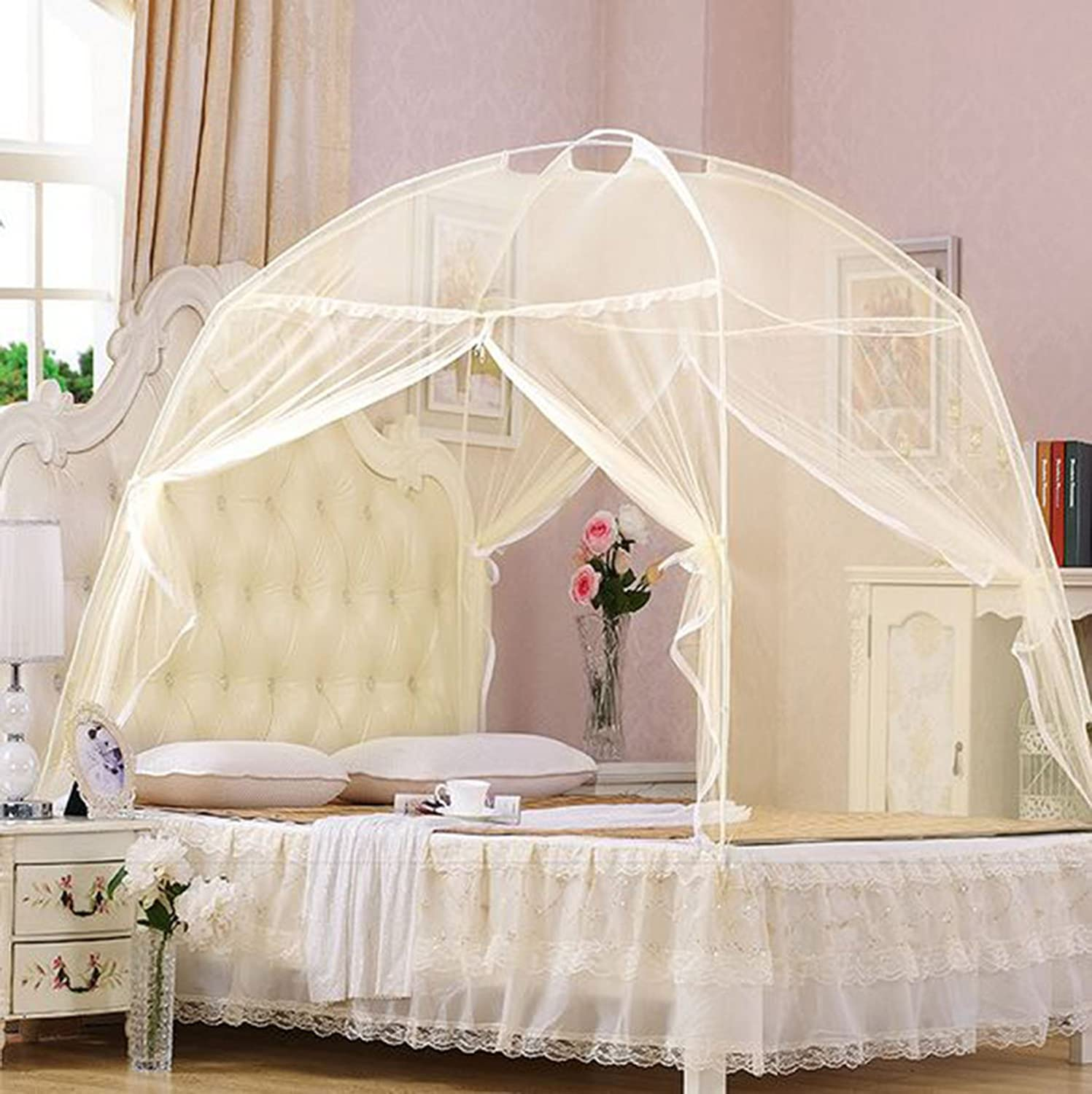 White, 110*200*125 Bow Mongolia Mosquito Net for Double Single Bed Netting Curtains Canopy Fly Screen Bed Frame Draperies