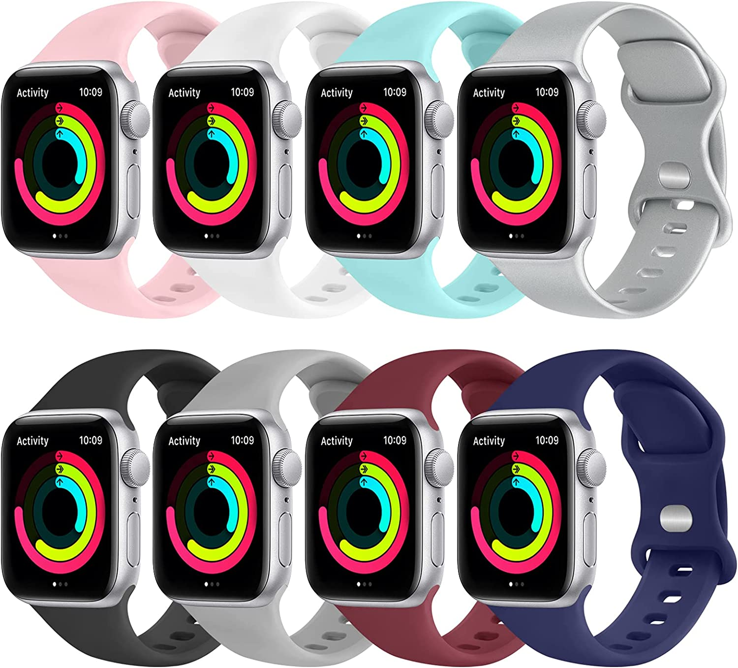 [8 Pack] Funeng Silicone Bands Compatible with Apple Watch Band 44mm 42mm for Men Women, Sport Wristbands for iWatch Series SE/6/5/4/3/2/1