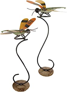 MY SWANKY HOME Unique Recycled Metal Dragonfly Sculpture Set 2 Stand Nature Inspired Butterfly