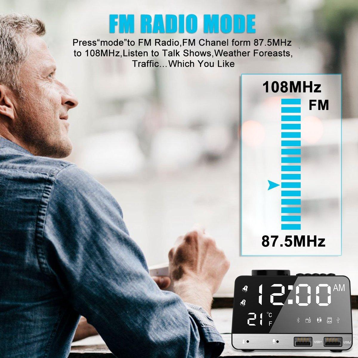 ieleacc 4,2 pulgadas Despertador radio, altavoz Bluetooth con Dual Snooze Clock USB de carga, AUX TF tarjeta Juego, termómetro, pantalla LED Dimmable Espejo ...