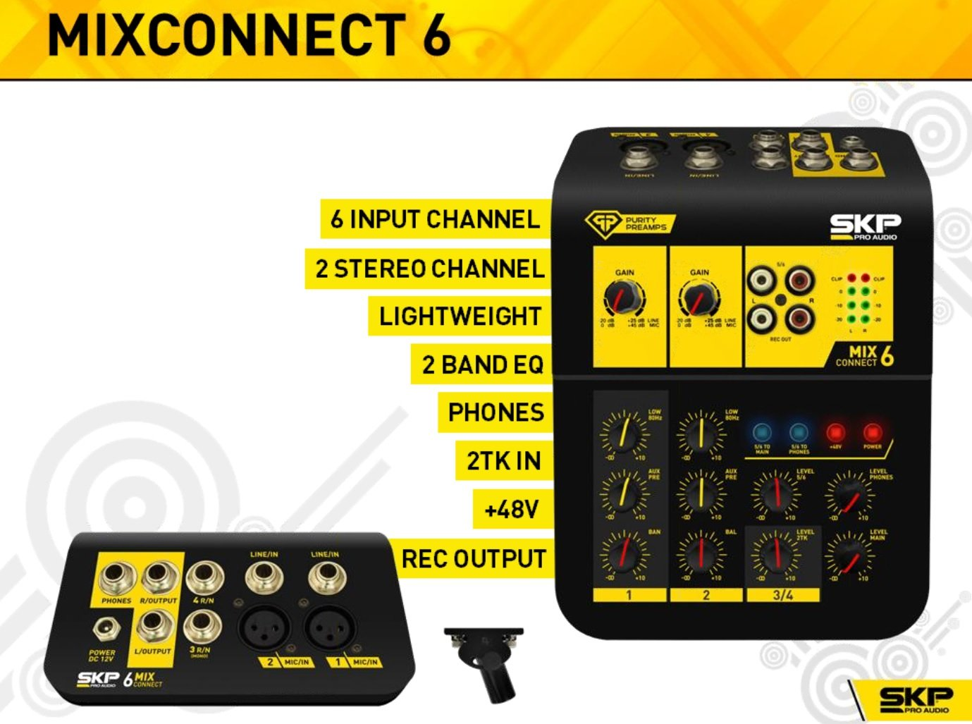 SKP Pro Audio MIX CONNECT 6 Portable Mixing Console with 6 Input Channels by SKP Pro Audio