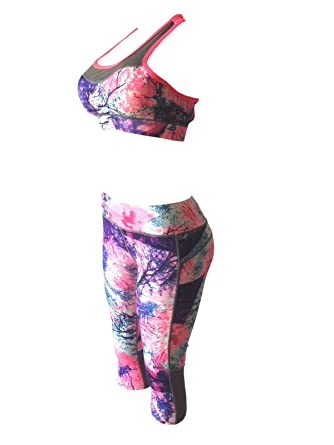 d3c6bb85d Women Gym Yoga Workout Padded Sports Bra Top + Cropped Leggings Activewear  Set (S