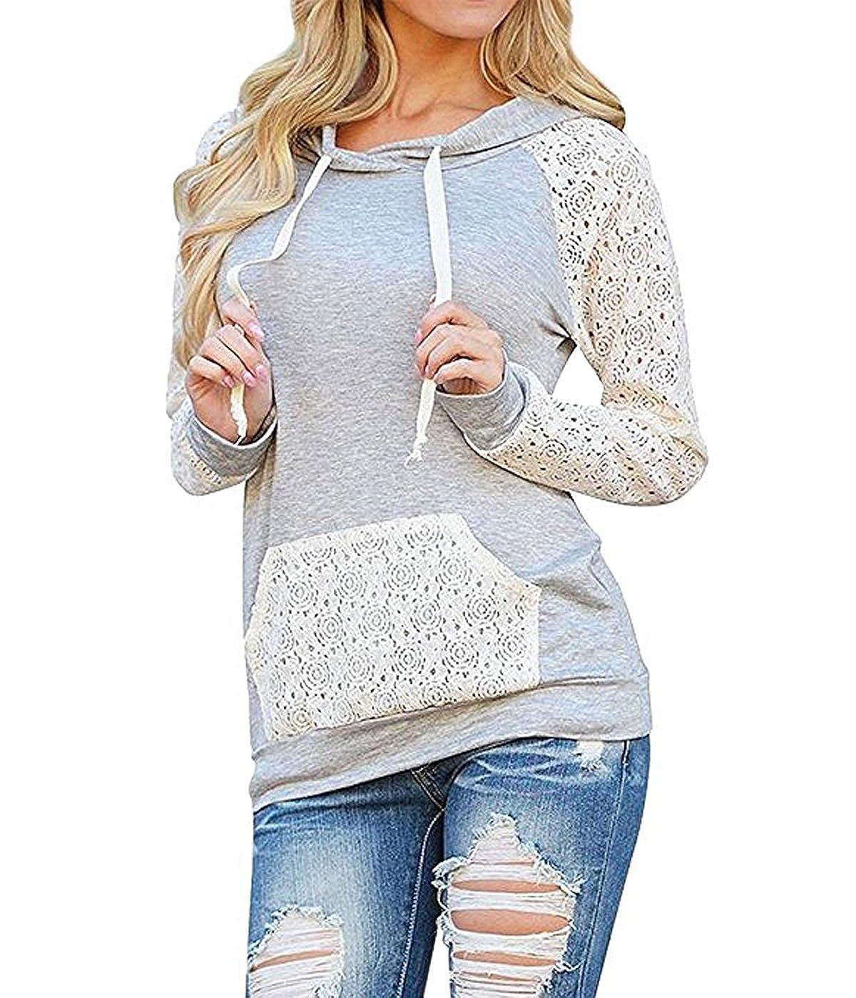 ZQYO Womens Long Sleeve Lace Drawstring Kangaroo Pocket Casual Pullover Hoodies Sweatshirt