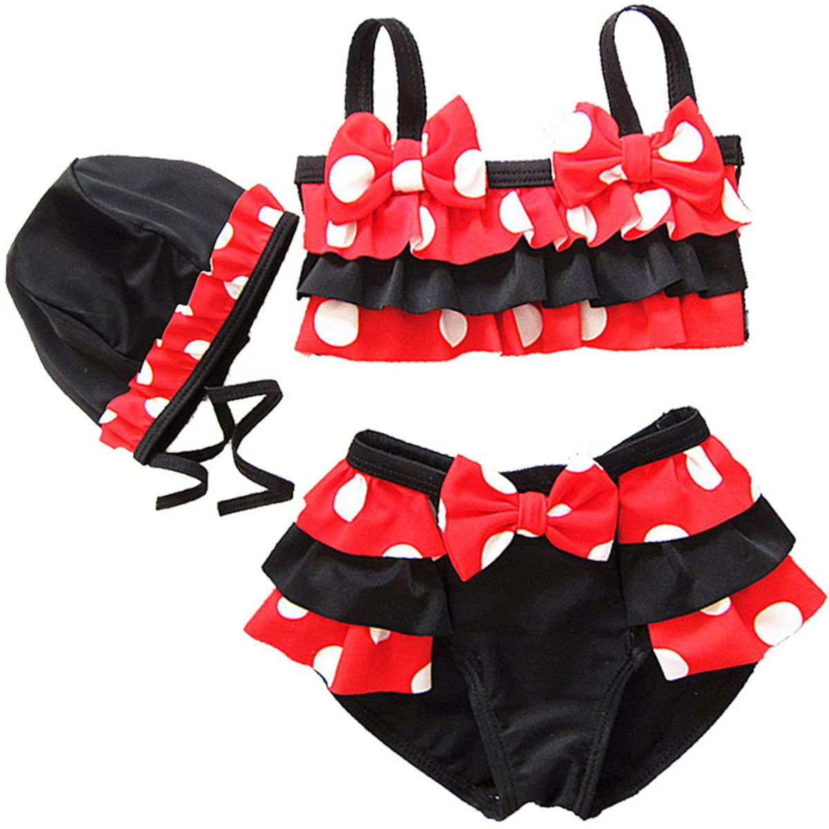 JELEUON Baby Girls Toddler Kids Two Piece Polka Dots Bowknot Bikini Set Swimsuit with Caps