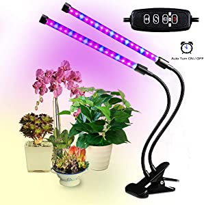 Led Grow Lights for Indoor Plants, Dual Head Plant Lights for Indoor Plants with Auto Turn on/Off, 38 LEDs Full Spectrum Indoor Plant Light,3 Dimmable Modes 3/9/12H/Clip for Plants Seedling-Black