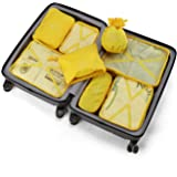 BETLLEMORY Packing Cubes 8 Sets Travel Luggage Organizers with Waterproof Shoe Storage Bag Compression Pouches(Yellow)
