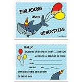 Kindergeburtstag Hai Einladungskarten Jungen Geburtstag Einladung  Geburtstagseinladung Kinder Haifisch   Set Zu 10 Stück   Illustration