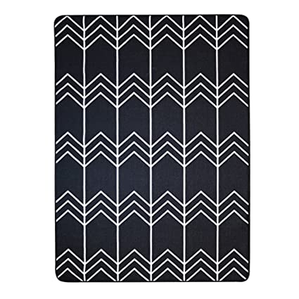 Amazoncom Jixwu Black And White Striped Rug Bedroom Bed Front