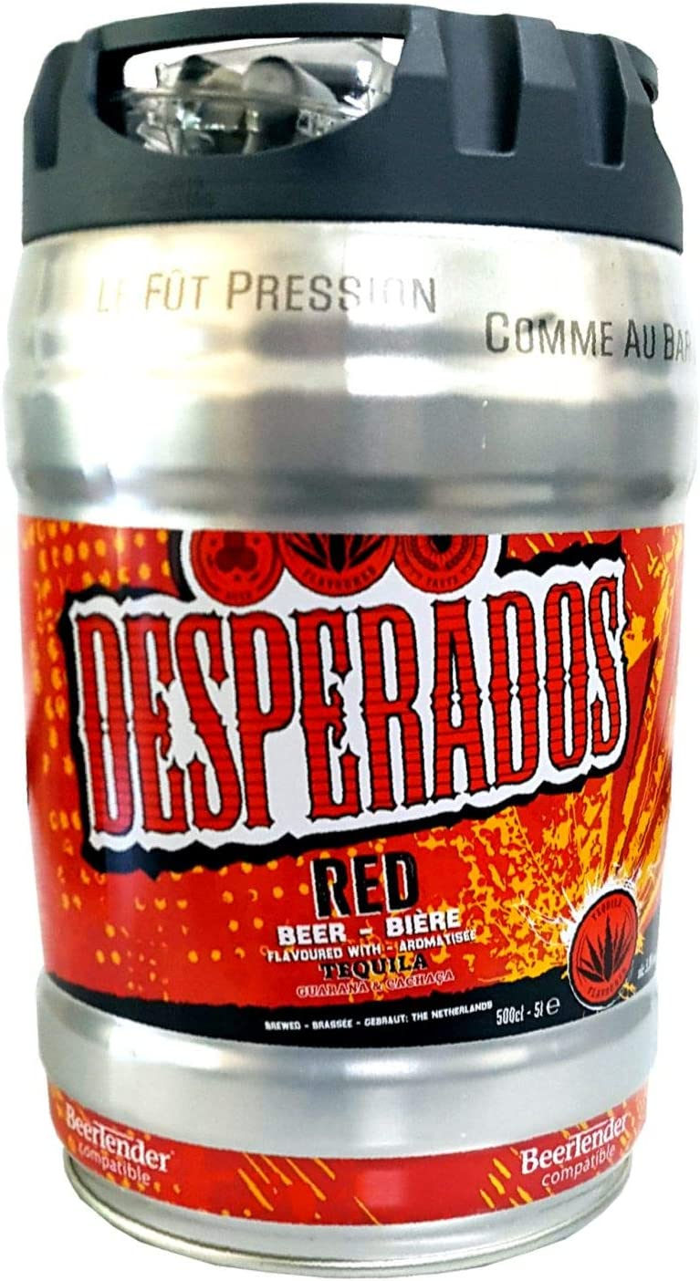 Desperados Red Beer With Tequila Guarana Cachaca Party Barrel 5 Liter Barrel Incl Tap 5 9 Vol Amazon Co Uk Beer Wine Spirits