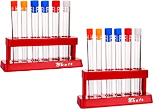 TEKEFT 2 Pack Plastic Test Tube Set with Caps and Rack Scientific Experiment Toys for Children