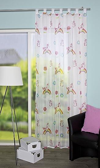 Schlaufenschal Einhorn- Motiv Kinderzimmer Vorhang Kinder Gardine ...
