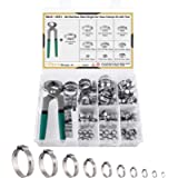MIAHART 120Pcs Stainless Steel Single Ear Hose Clamps with Ear Clamp Pincer 10 Sizes 304 Stepless Crimp Clamps for…