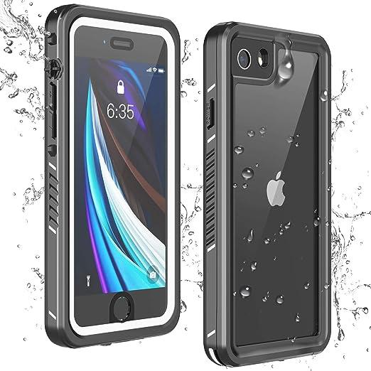 Singdo iPhone SE 2020 Waterproof Case,iPhone 7//8 Waterproof Case Built-in Screen Protector Full Body Heavy Duty Shockproof IP68 Waterproof Case for iPhone SE 2020//7//8 4.7 inch Black//Clear