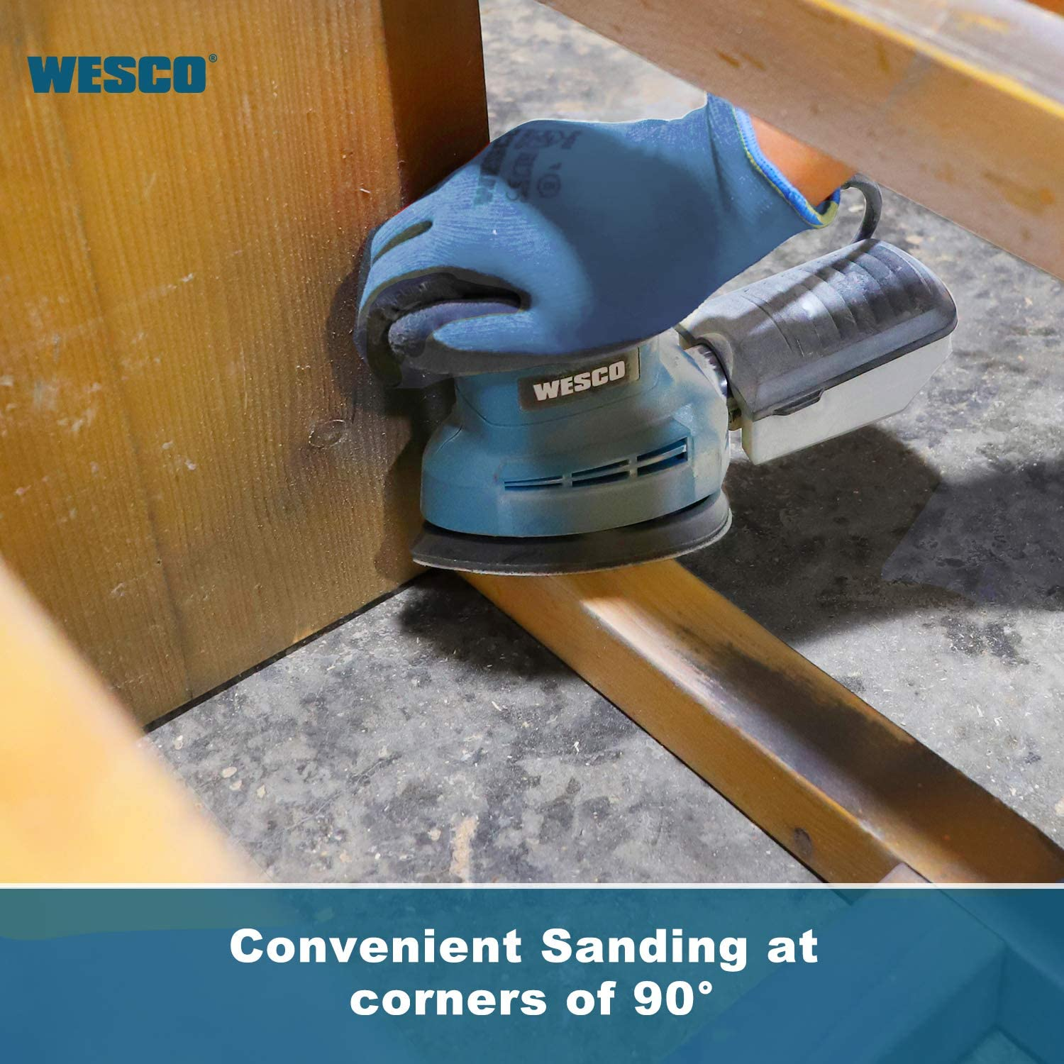 11000RPM 7 Variable Speed Palm Orbital Sander,Dust Extraction and Collection//WS4168 WESCO 240W 1//3 Sheet Sander with Aluminum Base 90 x 187 mm