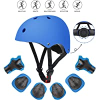 Fstoption Kids Skateboard Helmet Protective Gear Set, Knee Pads Elbow Pads Wrist Guards and Adjustable Bike Helmets Use for Scooter Cycling Roller Skating