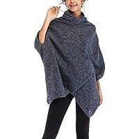 YiyiLai Women Loose Irregular 3/4 Sleeve High Neck Cloak Sweater Ponchos