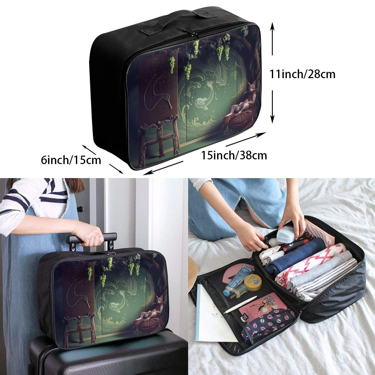 Travel Luggage Duffle Bag Lightweight Portable Handbag Fantasy Animals Print Large Capacity Waterproof Foldable Storage Tote