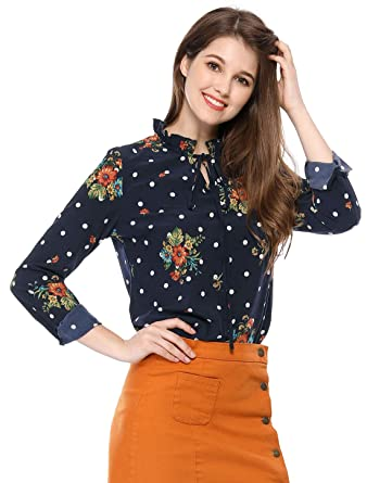 96c6264765a Allegra K Women s Tie Ruffled Neckline Button Down Polka Dots Floral Blouse  Tops XS Blue