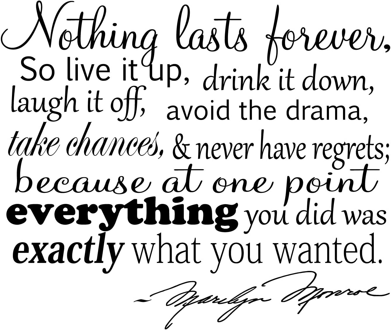 Amazon.com: Nothing Lasts Forever. Marilyn Monroe Quote Vinyl Wall ...