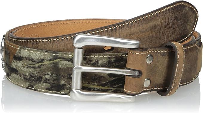 Nocona Outdoors Mossy Oak Men/'s Camo and Black Leather Belt