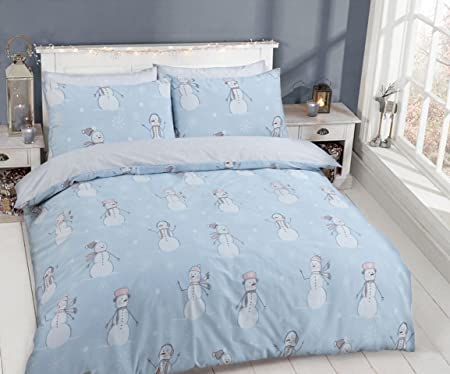 Linen Galaxy Xmas Christmas Festive Snowman Polycotton Duvet Cover Set With Pillow Cases Bedding Sets Double