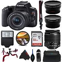 Canon EOS 250D / Rebel SL3 Digital SLR Camera Body w/Canon EF-S 18-55mm f/4-5.6 Lens 3 Lens DSLR Kit Bundled with Pixibytes Complete Accessory Bundle - International Model
