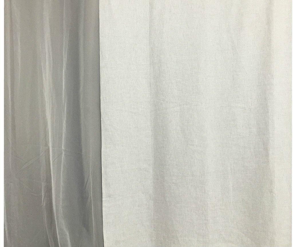 Amazoncom Stone Grey Ticking Stripe Shower Curtain  MildewFree - Beige and gray shower curtain
