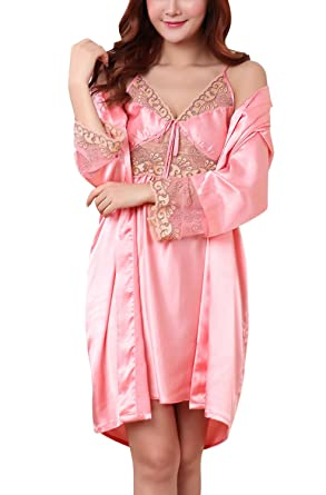 Dolamen Women s Lace Nighties Satin and Dressing Gown Kimono Robe 4ec64a87c