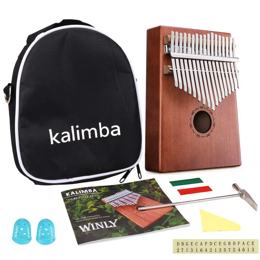 Kalimba 17 Key Thumb Piano, Pocket Thumb Finger Piano Mahogany Body, Finger Percussion Keyboard with Instruction Tune Hammer Piano Bag, Christmas Birthday Present Gifts
