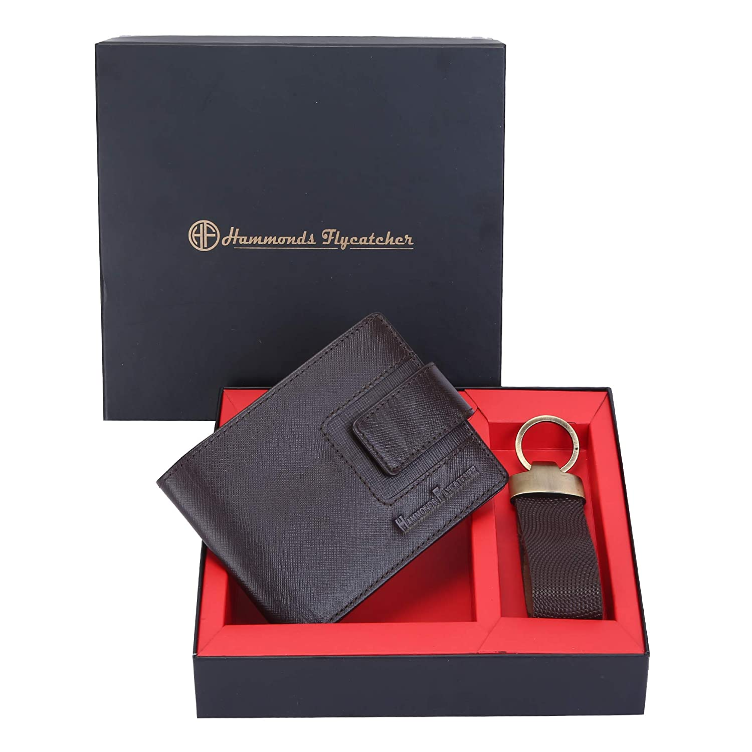 c94bebd64db11 Hammonds Flycatcher Men s Leather Bifold Wallet and Keychain Set (Brown)   Amazon.in  Bags
