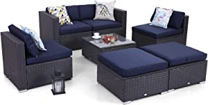 Sophia & William Outdoor Furniture Set Patio Wicker Sectional Sofa, Low-Back Rattan Couch with Ottoman(7 Piece, Navy Blue)