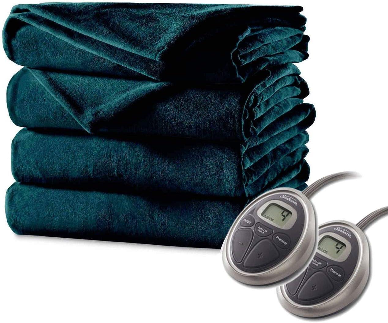 Sunbeam Luxurious Electric Heated Blanket Premium Plush, Auto Shut-Off, 20 Heat Settings,Two Controllers, King (Deep Sea Blue)