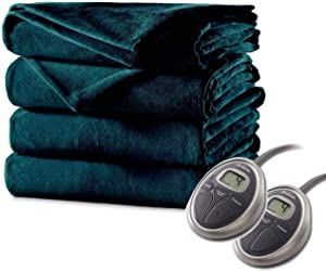 Sunbeam Luxurious Premium Plush Electric Heated Blanket, Auto Shut-off 20 Heat Settings Two Controllers, Queen Size, Deep Sea Blue