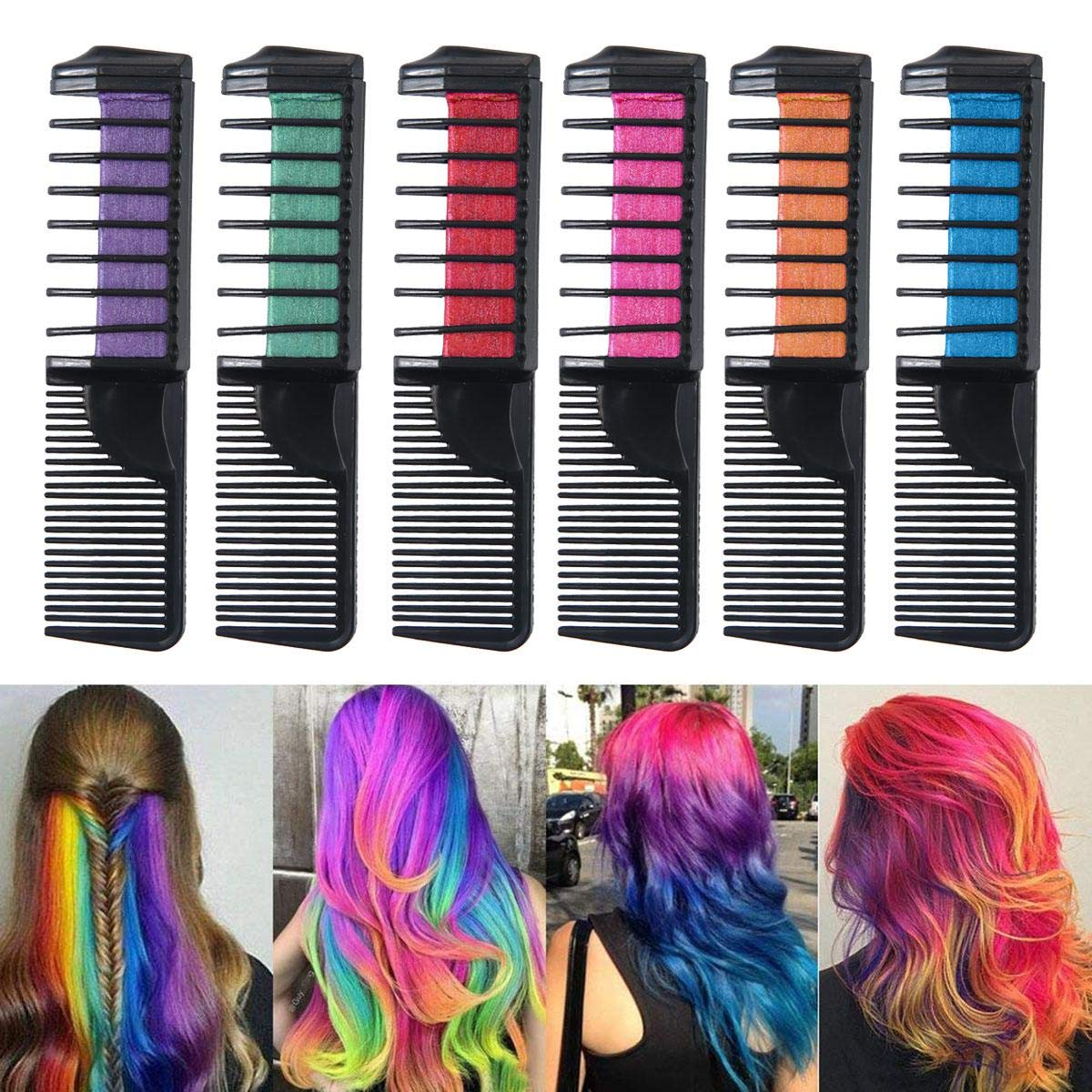 Aolvo Hair Chalk Combs Set Temporary Hair Chalk Hair Dye Kit for Women Boys Girls[2018 Newest Design] Cheap Non-Toxic Washable Hair Dye for Hair Dyeing Party Cosplay DIY,Works on All Hair Colors,6PCS