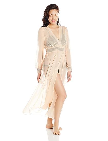 f29d040633 Specimens Of Seduction Women s Sheer Romance Full Length Silk Dressing Gown  S Peach Black