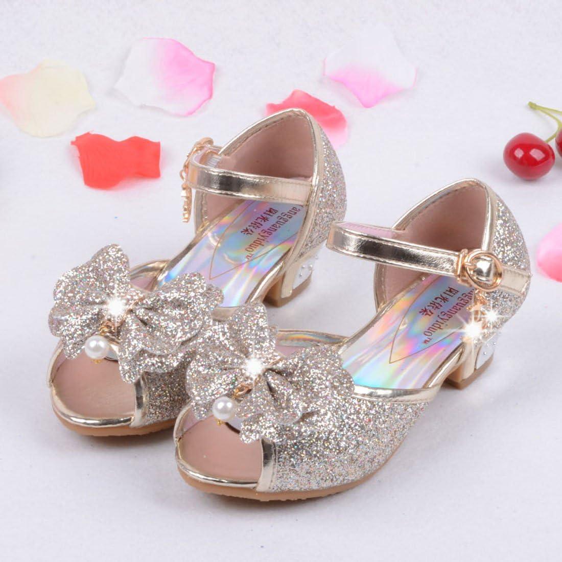 ON Girls Kids Children Glitter Evening Wedding Party Low Heel Open Toe Sandal Shoes Mary Jane