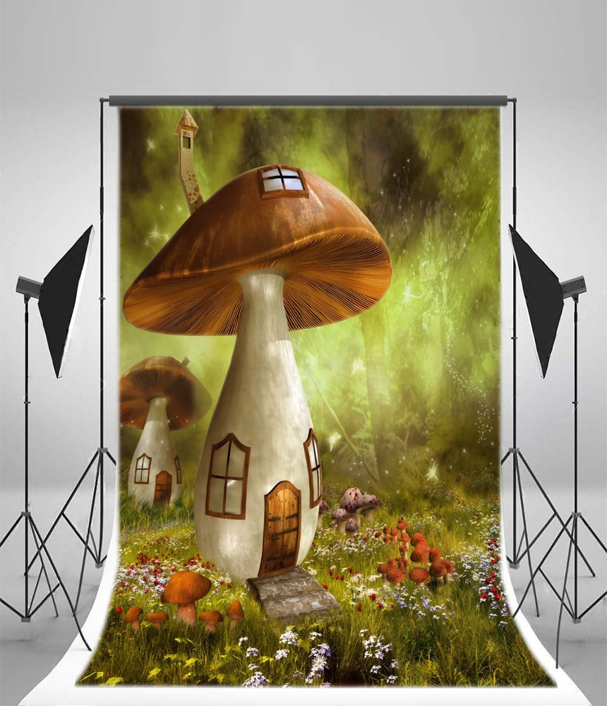 Leyiyi 5x7ft Spring Garden Backdrop Enchanted Forest Magic Woodland Woderland World Mushroom House Gardening Flowers Blossom Photography Background Kids Birthday Baby Shower Photo Studio Vinyl Prop
