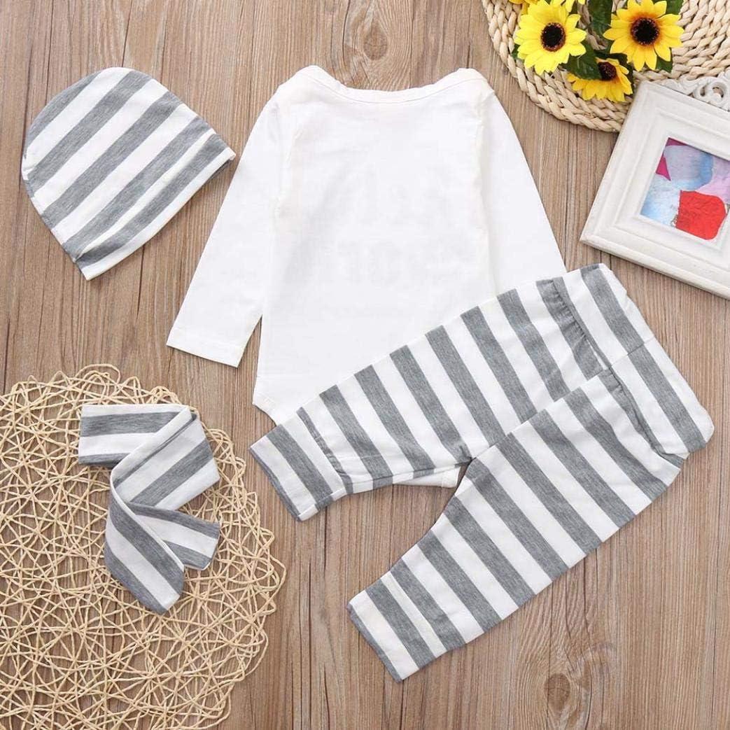 Infant Baby Toddler Boys Girls Clothes Outfit 4Pcs Set Letter Print Romper+Stripe Print Pants+Hat+Headband 0-2T