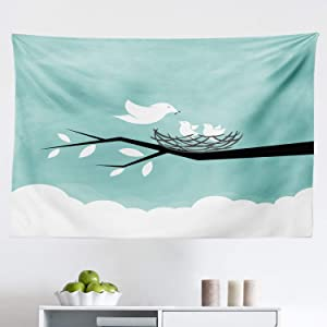 "Lunarable Birds Tapestry, Mother Animal Feeding Her Babies with Worms Nature Illustration, Fabric Wall Hanging Decor for Bedroom Living Room Dorm, 45"" X 30"", Seafoam White and Charcoal Grey"